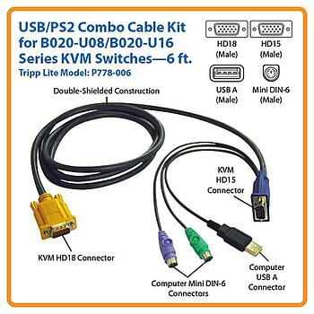 Tripp Lite P778-006 USB/PS2 Combo Cable for NetDirector KVM
